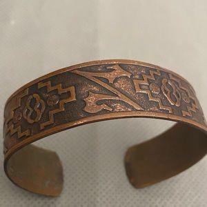 Southwestern Solid Copper Etched Cuff Bracelet